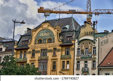 PRAGUE, CZECH REPUBLIC - May 2, 2020: Grand Hotel in Wenceslas Square, one of the main city squares and the centre of the business and cultural communities in the New Town of Prague, Czech Republic.