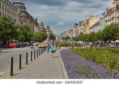 PRAGUE, CZECH REPUBLIC - MAY 20, 2016: People walking around on Vaclavske Namesti on a bright spring day in Prague