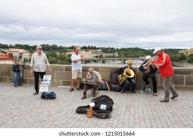 Prague, Czech Republic - May, 2014: Bridge Band at Charles Bridge, Prague.