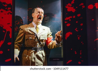 PRAGUE, CZECH REPUBLIC - MAY 2017: Adolf Hitler statue in the Madame Tussaud museum in Prague. Madame Tussaud museum is the museum of the wax figures