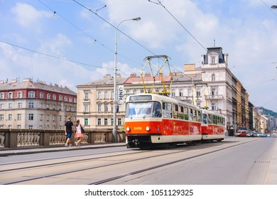 PRAGUE, CZECH REPUBLIC - MAY 2017: a famous tourist sight, an old tram in Prague.