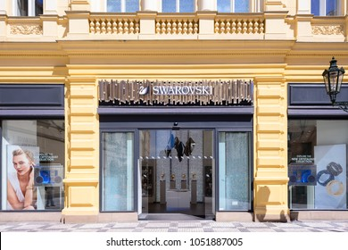 PRAGUE, CZECH REPUBLIC - MAY 2017: Swarovski in Prague. Swarovski is an Austrian Crystal manufacturer produces crystal jewelry and accessories.