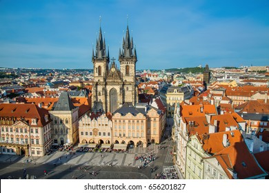 PRAGUE, CZECH REPUBLIC - MAY 2017: Buildings on the Old Town square Staromestska Namesti with Tyn Church in Prague, Czech Republic