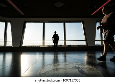 Prague, Czech Republic. May 2018.  a man while lying in the panorama from the TV tower of Prague, Czech Republic