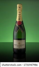 Prague, Czech republic - May 2020. Studio shot of a bottle of Moet champagne.