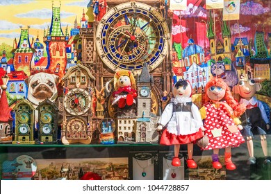 PRAGUE, CZECH REPUBLIC - MAY 21, 2016: Beautiful shop window with national souvenirs in Prague