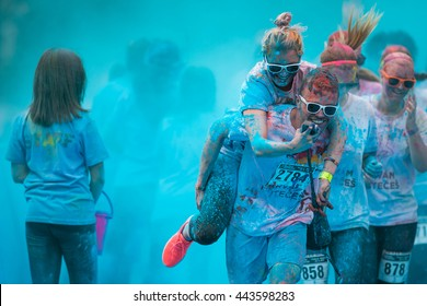 Prague, Czech Republic - May 21 2016: People participating in the Color Run. The Color Run is a worldwide hosted 5K fun race