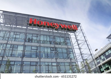 PRAGUE, CZECH REPUBLIC - MAY 22: Honeywell company logo on headquarters  building on May 22, 2017 in Prague, Czech republic. Honeywell will decide by fall whether to spin off aerospace unit.
