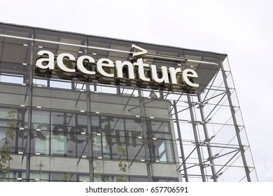 PRAGUE, CZECH REPUBLIC - MAY 22: Accenture global professional services company logo on Czech headquarters building on May 22, 2017 in Prague, Czech republic.
