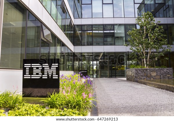 PRAGUE, CZECH REPUBLIC - MAY 22: IBM company logo on headquarters building on May 22, 2017 in Prague, Czech republic. IBMs revenue declines stretch to 20 consecutive quarters.