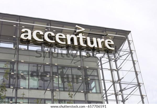 PRAGUE, CZECH REPUBLIC - MAY 22: Accenture global professional services company logo on Czech headquarters building on May 22, 2017 in Prague, Czech republic.
