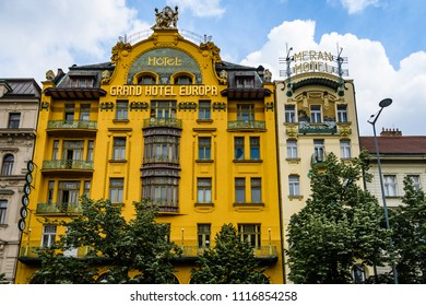 PRAGUE, CZECH REPUBLIC - MAY 23, 2018: Grand Hotel Europa in the romantic city of Prague, Czech Republic