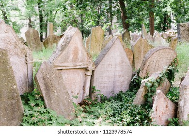 Prague, Czech Republic - May 23, 2018: Tombstones of the old Prague Jewish cemetery