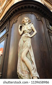 Prague, Czech Republic, May 25, 2018. Alluring Female Sculpture adorning a Building in the Old Town of Prague