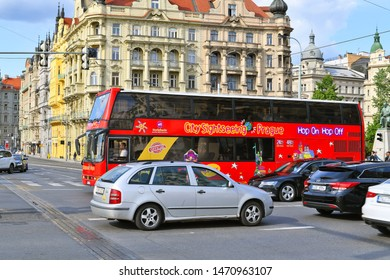 PRAGUE, CZECH REPUBLIC - May 25, 2019: PRAGUE HOP ON HOP OFF - BUS TOURS.