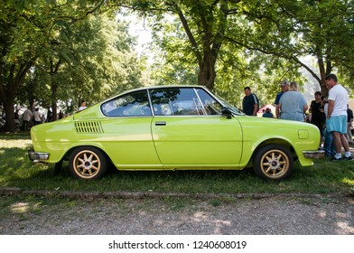 Prague, Czech Republic, May 26, 2018, Škoda 110 R is a passenger car - a coupe derived from the Skoda 110 sedan and manufactured between 1970 and 1980 by the Czechoslovak AZNP in Kvasiny