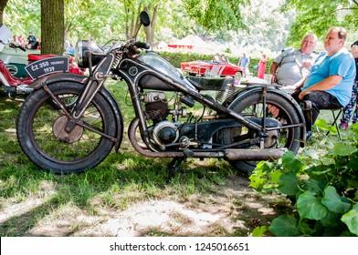 Prague, Czech Republic, May 26, 2018, CZ 350, also known as ČZ 350 Tourist; was the most powerful pre-war motorcycle after the ČZ 500, produced in České zbrojovce Strakonice