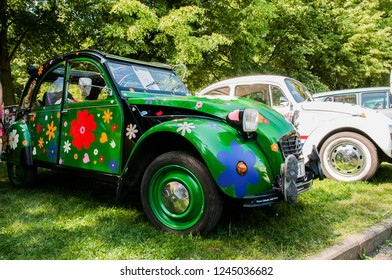 Prague, Czech Republic, May 26, 2018, Citroën 2CV, popularly called Duck, Kette, or Duck, canette, according to his soft cushion, with which the car leaned while riding on unevenness