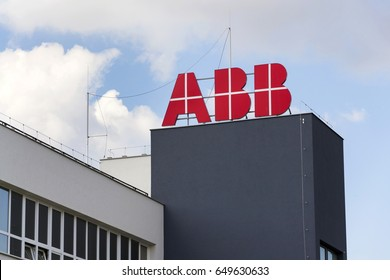 PRAGUE, CZECH REPUBLIC - MAY 26: ABB company logo on headquarters  building on May 26, 2017 in Prague, Czech republic. ABB develops microgrid solution for battery energy storage.