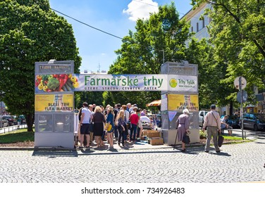 PRAGUE, CZECH REPUBLIC - MAY 27,2017: Prague farmer's market on Tylova square in the weekend. Market has antiques, homemade food, fresh fruits and vegetables.