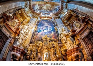 PRAGUE, CZECH REPUBLIC - MAY 28, 2017: Baroque interior of St Nicholas