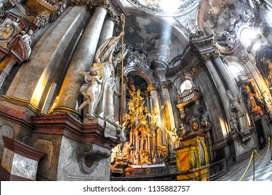 PRAGUE, CZECH REPUBLIC - MAY 28, 2017: An interior view of St. Nicholas Cathedral (Chram sv. Mikulase) in Lesser town