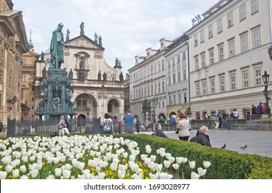 Prague ,Czech Republic - May 2nd, 2016 : Abstract cityscape view of Saint Salvator Church located end of Charles Bridge at entrance to Praha Old Town, Czechia ,is part of Prague's famous Klementinum