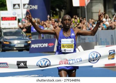 PRAGUE, CZECH REPUBLIC - MAY 3, 2015: Kenyan runner Felix Kandie wins the Volkswagen Marathon Prague, May 3, 2015 in Prague, Czech republic.