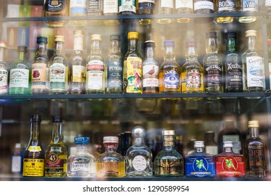 PRAGUE, CZECH REPUBLIC - MAY 30, 2017: a variety of small alcoholic drinks