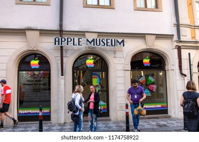PRAGUE, CZECH REPUBLIC - MAY 31, 2017: Apple Museum in Prague. It is located in Husova Street, The Old Town