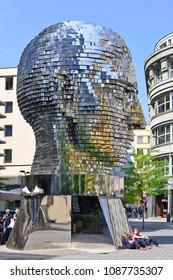 """PRAGUE, CZECH REPUBLIC - May 4, 2018 """"Head of Franz Kafka"""" also known as the """"Statue of Kafka."""