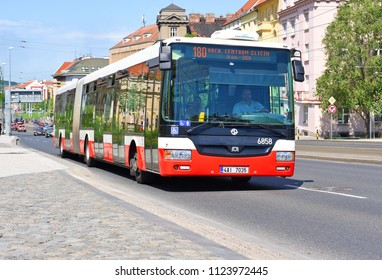 PRAGUE, CZECH REPUBLIC - May 4, 2018: City bus on the route.