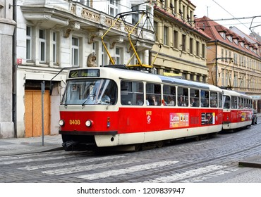 PRAGUE, CZECH REPUBLIC - May 4, 2018: Old tram in the streets of the city.