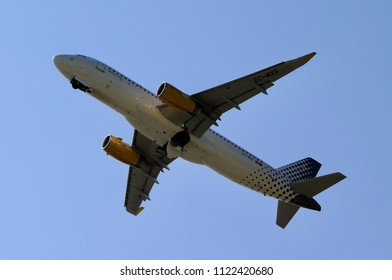 PRAGUE, CZECH REPUBLIC - MAY 5, 2018: Airbus A320 of Vueling taking off from Prague airport.
