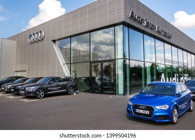 PRAGUE, CZECH REPUBLIC - MAY 6 2019: Audi company logo on dealership building on May 6, 2019 in Prague, Czech Republic.