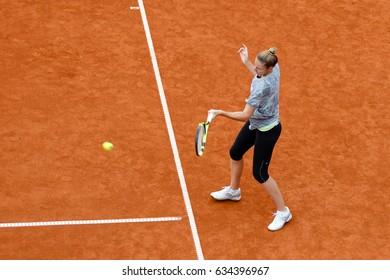 Prague, Czech Republic. May 6, 2017. Kristyna PLISKOVA (CZE) is preparing for the final match against Mona Barthel (GER) at WTA J&T Banka Prague Open 2017.