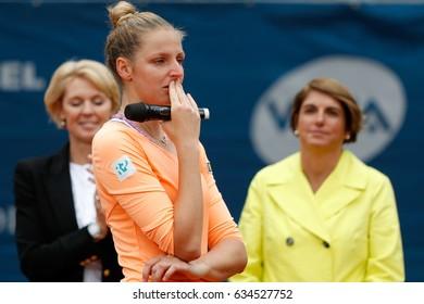 Prague, Czech Republic. May 6, 2017. Trophy ceremony at WTA J&T Banka Prague 2017 tennis cup. Mona BARTHEL (GER) defeated Kristyna PLISKOVA (CZE).