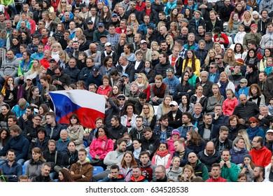 Prague, Czech Republic. May 6, 2017. Fans at finals WTA J&T Banka Prague 2017 tennis cup. Match between Mona BARTHEL (GER) and Kristyna PLISKOVA (CZE).