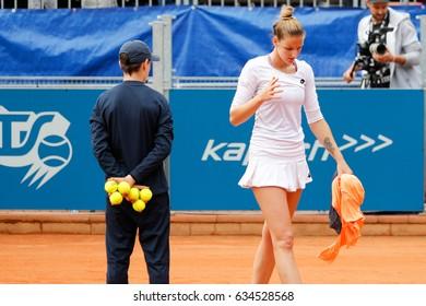 Prague, Czech Republic. May 6, 2017. Finals at WTA J&T Banka Prague 2017 tennis cup. Match between Mona BARTHEL (GER) and Kristyna PLISKOVA (CZE).