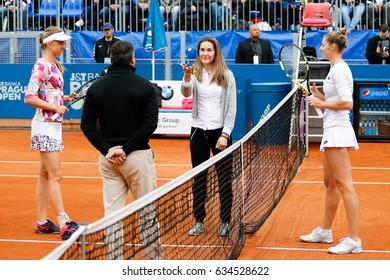 Prague, Czech Republic. May 6, 2017. Sarka Strachova attending finals and tossing coin at WTA J&T Banka Prague 2017 tennis cup. Match between Mona BARTHEL (GER) and Kristyna PLISKOVA (CZE).