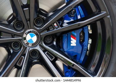 PRAGUE, CZECH REPUBLIC - MAY 7, 2019: Wheel of BMW car in Prague, Czech Republic, May 7, 2019