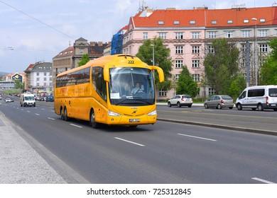 PRAGUE, CZECH REPUBLIC - May 7, 2017: Intercity bus on the city street. Passenger transportation REGIO JET .