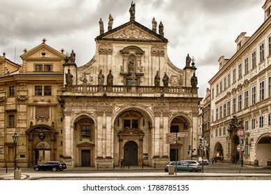 PRAGUE, CZECH REPUBLIC - May 9, 2020: St. Salvator Church, one of two churches in the Klementinum, in Old Town, Prague, Czech Republic