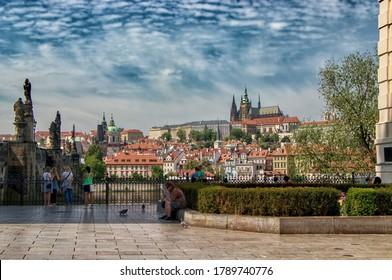 PRAGUE, CZECH REPUBLIC - May 9, 2020: View of Hradcany in Prague city