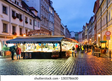 PRAGUE, CZECH REPUBLIC - NOV 20, 2018: Havel's Market (Havelske Trziste). Permanent marked in the center of Prague. Market has been continuously open since 1232. Prague, Czech Republic
