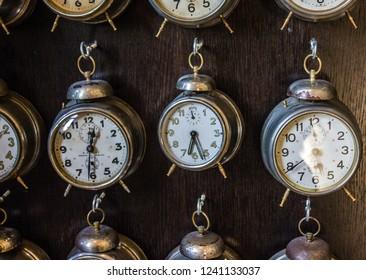 Prague, Czech Republic - Nov 25, 2018: Vintage Czech clocks in Prague souvenir shop.