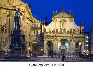 PRAGUE, CZECH REPUBLIC - NOV 25, 2012:  Krizovnicke square with Charles IV. statue, St. Salvatore church, Old Town, Prague (UNESCO), Czech republic