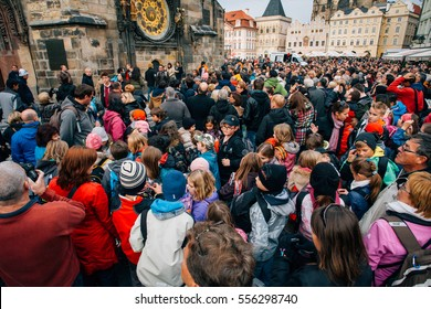 Prague, Czech Republic, November 01, 2013: crowd near Astronomical Clock in Praha