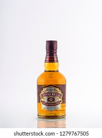 Prague, Czech republic November 11, 2018: Photo of botle of Chivas Regal Golg Signature , 12 years old scotch whiskey.Chivas Regal is a blended Scotch whisky produced by Chivas Brothers, owned by Pern