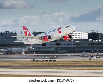 PRAGUE, CZECH REPUBLIC - NOVEMBER 11: CSA - Czech Airlines Airbus A319 take off from PRG Airport on November 11, 2017. CSA is the national airline of the Czech Republic.
